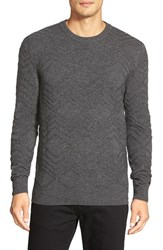 Men's Boss 'T Escobar' Textured Crewneck Sweater Grey