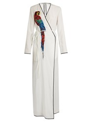 Attico Raquel Parrot Embellished Wrap Dress White Print