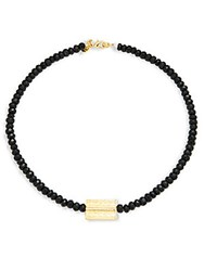 Mhart Onyx Bead And 18K Gold Necklace Black