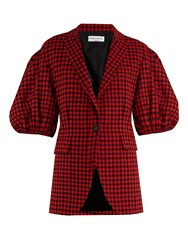 Sonia Rykiel Gingham Puffed Shoulder Wool Jacket Red Multi