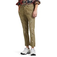 Nsf Paint Splattered Cotton Canvas Crop Chinos Olive