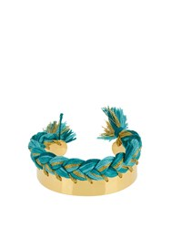 Aurelie Bidermann Copacabana Gold Plated Wide Cuff Green