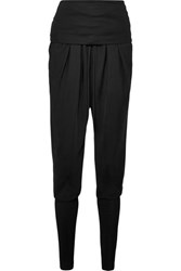 Tom Ford Ruched Jersey Paneled Twill Track Pants Black