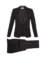 Saint Laurent Shawl Collar Satin Trimmed Wool Tuxedo Black