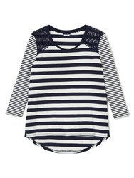Dash Stripe Top With Lace Trim Navy