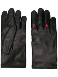 Yang Li Card Suit Embroidered Gloves Black