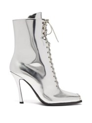 258959a1360c Calvin Klein 205W39nyc Windora Lace Up Leather Boots Silver