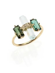 Jacquie Aiche Green Tourmaline Aquamarine Diamond And 14K Yellow Gold Bar Ring Gold Green