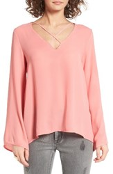 Lush Women's Cross Front Blouse Strawberry