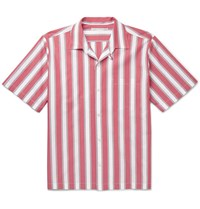 Stella Mccartney Camp Collar Striped Cotton Poplin Shirt Pink