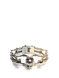 Alexander Mcqueen Double Skeleton Bracelet Gold Multi