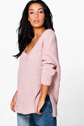 Boohoo Savannah V Neck Oversized Jumper Tunic Rose