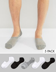 Asos Invisible Socks In Mini Waffle 5 Pack Multi