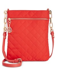 Tommy Hilfiger Isabella Quilted Nylon Flat Crossbody Racing Red