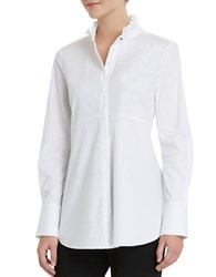 Ellen Tracy Ruffle Neck Tunic White