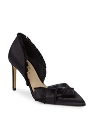 424 Fifth Vale Satin Fringe Trim D'orsay Heel Black