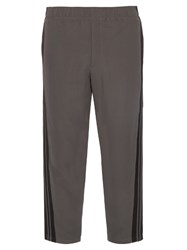Alexander Mcqueen Cropped Relaxed Leg Crepe Trousers Grey Multi