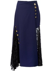 Prabal Gurung Button Detail Skirt Blue