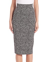 Donna Karan Pebble Jersey Pencil Skirt Black Ivory