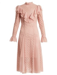 Temperley London Prairie Ruffled Lace Dress Light Pink
