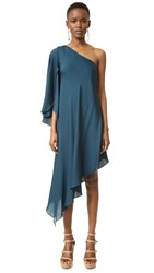 Milly One Shoulder Tori Dress Peacock