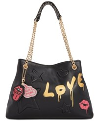 Betsey Johnson Thing Called Love Large Satchel Black