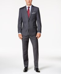 Michael Kors Men's Classic Fit Gray And Burgundy Grid Suit Grey