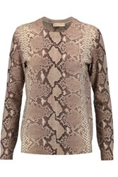 Tory Burch Snake Print Wool And Cotton Blend Sweater Taupe