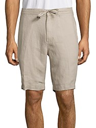 Saks Fifth Avenue Solid Linen Drawstring Bermuda Shorts Natural