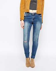 Brave Soul Bleach Washed Skinny Jeans Blue