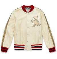 Gucci Disney Embroidered Textured Leather Bomber Jacket White