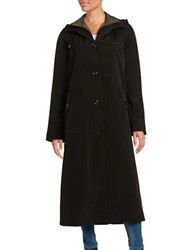 Gallery Long Hooded Raincoat Black
