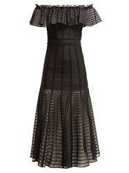 Alexander Mcqueen Off The Shoulder Stripe Knitted Midi Dress Black