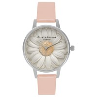 Olivia Burton Women's Flower Show 3D Daisy Leather Strap Watch Dusty Pink