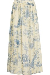 Philosophy Printed Silk Chiffon Maxi Skirt Blue