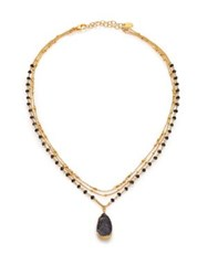 Chan Luu Black Agate Druzy And Black Spinel Multi Strand Pendant Necklace Gold Black