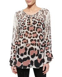 Just Cavalli Long Sleeve Leopard Print Chiffon Top White Multi
