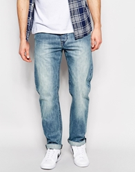 Asos Straight Jeans In Mid Wash Blue