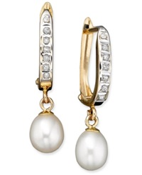 Macy's 14K Gold Cultured Freshwater Pearl And Diamond Accent Drop Earrings