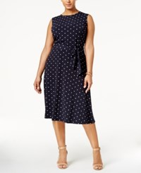 Charter Club Plus Size Polka Dot Fit And Flare Dress Only At Macy's Intrepid Blue Combo