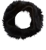 Buji Baja Fur And Knit Infinity Scarf Black