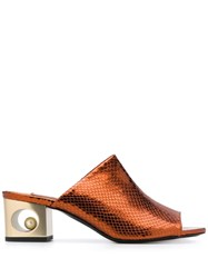 Coliac Snake Effect Mules Orange