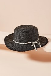 Anthropologie Brooke Straw Boater Hat Black