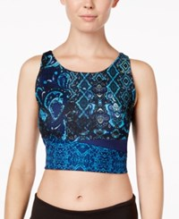 Gaiam Harlow Printed Cropped Sleeveless Top Midnight Patchwork