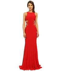Faviana Jersey Gown W Side Cut Outs 7820 Red Women's Dress
