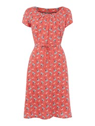 Lily And Me Printed Jersey A Line Dress Coral