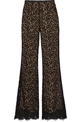 Michael Kors Collection Corded Cotton Blend Lace Flared Pants Black