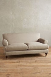 Anthropologie Linen Willoughby Settee Hickory Driftwood