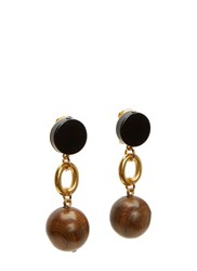 Marni Wooden Sphere Pendant Drop Earrings Brown
