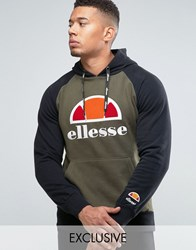 Ellesse Raglan Hoodie With Large Logo Green